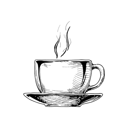 Big ceramic cup on a saucer with hot drink. Vector illustration in vintage engraved style. isolated on white background. Vector Illustration