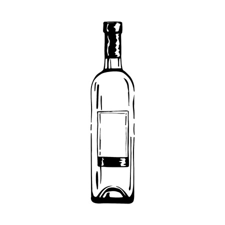 illustration of wine bottle in ink hand drawn style. isolated on white.