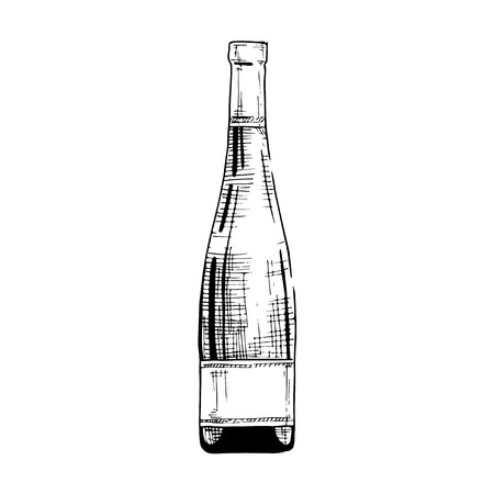 Vector illustration of wine bottle in ink hand drawn style. isolated on white.