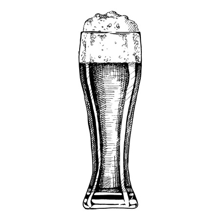 Beer in pilsner glass. Vector illustration of weizen in ink hand drawn style. isolated on white. Illustration
