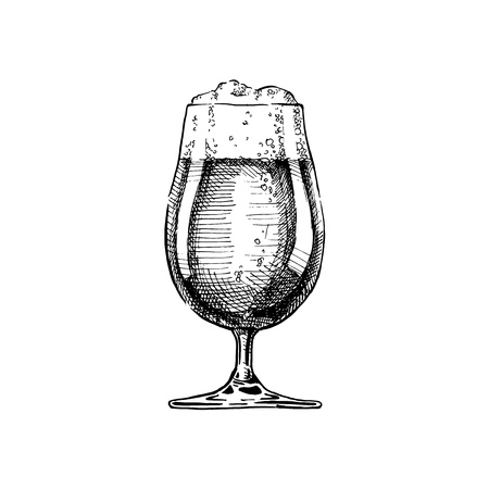 Dark Beer in tulip glass. Vector illustration of weizen in ink hand drawn style. isolated on white. Illustration