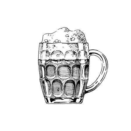 Cerveza en una taza con hoyuelos. Ilustración de jarra de vidrio en tinta estilo dibujado a mano. aislado en blanco.