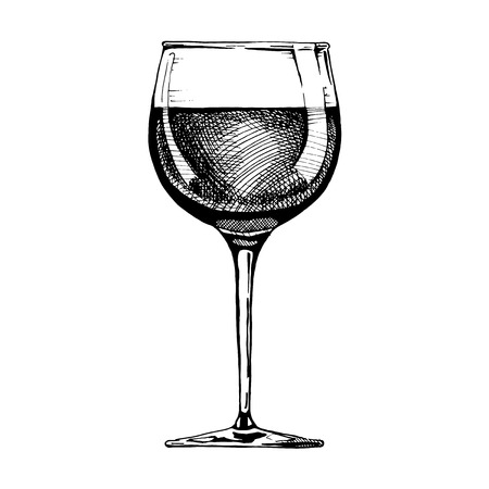 Standard red wine glass. Vector illustration of stemware in ink hand drawn style. isolated on white. Иллюстрация