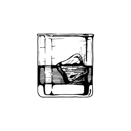 collins: Tumbler glass with whiskey and ice cube. Vector hand drawn illustration of Rocks in vintage engraved style.