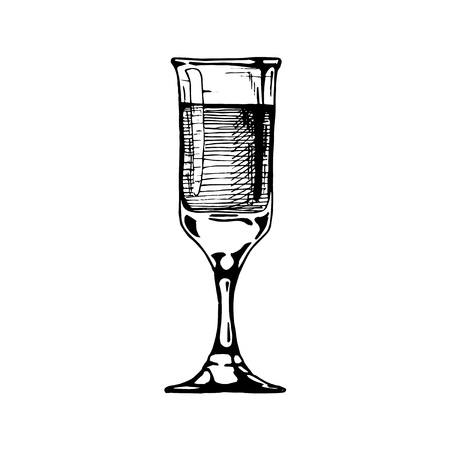 Sherry glass with beverage. Illustration of stemware in vintage engraved style. isolated on white background