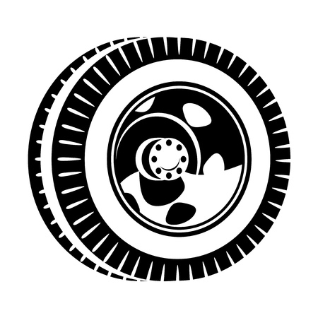 tire cover: black and white illustration of wheel