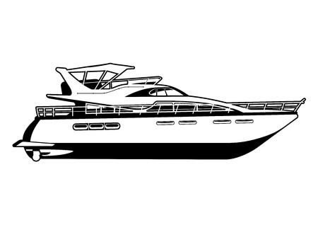 illustrazione in bianco e nero di yacht a motore Vettoriali