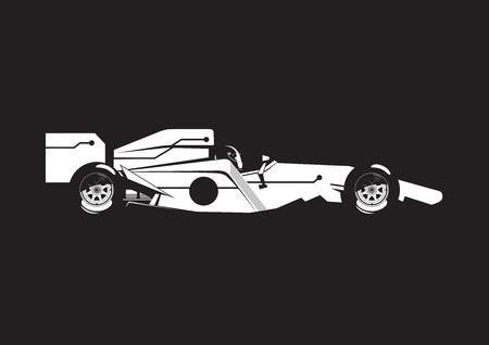 illustration of open-wheel car on black background. Side view.