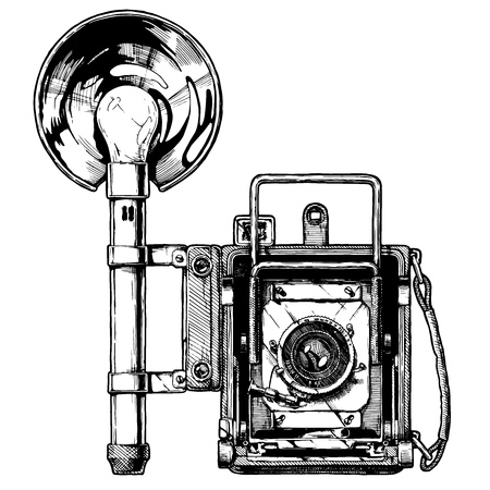 Press camera with optional rangefinder and attached bulb flash. Vector hand drawn sketch of retro photocamera in vintage engraved style on white background.