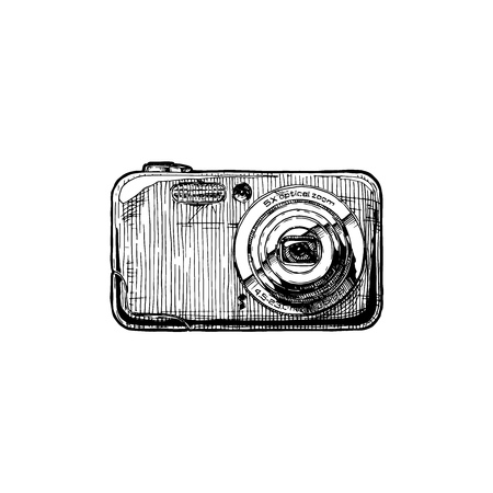 Digital compact camera with built-in flash. Vector hand drawn sketch of point-and-shoot photocamera in vintage engraved style on white background.