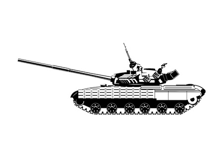 Vector black and white illustration of modern heavy tank.