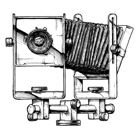 Monorail camera. Vector hand drawn sketch of large format photocamera in vintage engraved style on white background. Illustration