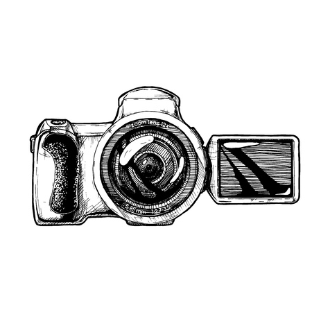 swivel: Bridge camera with articulating screen. Vector hand drawn sketch of digital photocamera in vintage engraved style on white background.