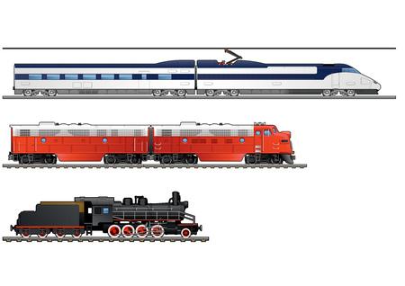 Evolutie van treinen. Stoomlocomotief, dubbeldelige diesellocomotieven, hogesnelheidstrein. Eenvoudig verlopen alleen - geen verloopnet.