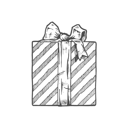 gift box vector illustration in ink hand drawn style royalty free