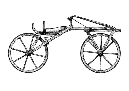 A Vector hand drawn illustration of retro Wooden bicycle, draisine.