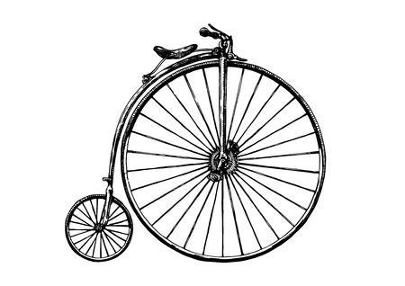 A Vector hand drawn illustration of retro bicycle, penny-farthing. Retro bicycle was used in the 1870s.