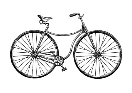 Vector hand drawn illustration of safety bicycle. Retro bicycle was used in the 1880s – 1890s.