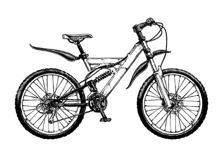 A Vector hand drawn illustration of mountain bike in ink hand drawn style. Full suspension bicycle with unified rear triangle. Çizim