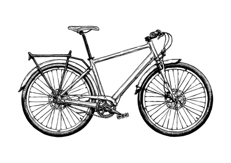 Vector hand drawn illustration of hybrid bicycle in ink hand drawn style. Hard tail.