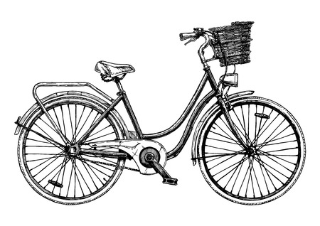 Vector hand drawn illustration of city bicycle in ink hand drawn style. Bike with step-through frame, pannier rack and front wicker basket. Stock Illustratie