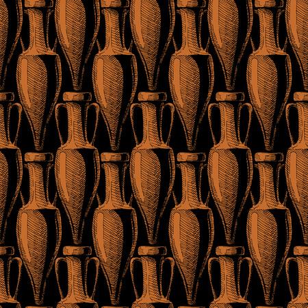 vector de patrones sin fisuras con antigua ánfora. Vectores