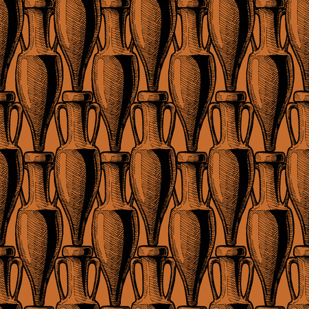 vector seamless pattern with ancient amphora.