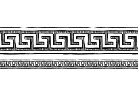 蛇行、インク手描きのスタイルで古いギリシャの国境の装飾。水平方向のシームレスなパターン境界線。