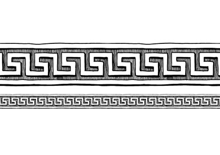 Meander, old greek border ornament in ink hand drawn style. Horizontal seamless pattern border.  Çizim