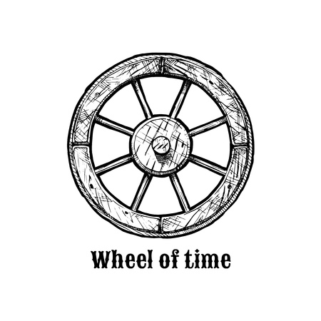 Wheel of time. Antique wooden spoked wheel, ink hand drawn illustration. Vettoriali