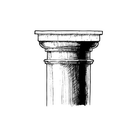 Tuscan order. Vector hand drawn illustration of classical capital. Illustration in vintage engraving style.