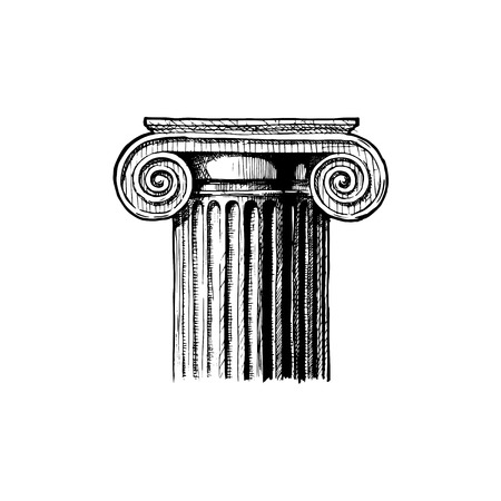 Ionic order vector hand drawn illustration of classical capital. Illustration in vintage engraving style.