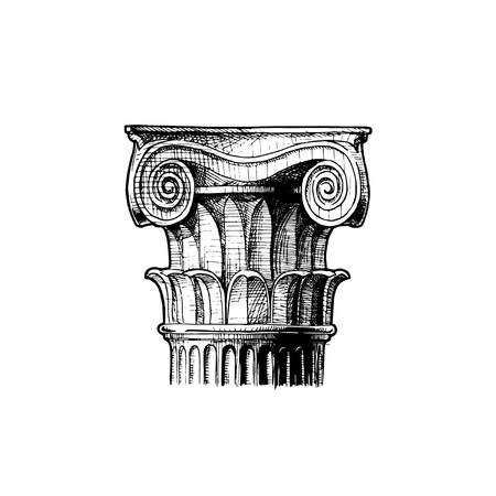 Composite order. Vector hand drawn illustration of classical capital. Illustration in vintage engraving style.