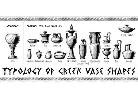 Typology of Greek vase shapes. Perfume, oil, wedding vessels and cookware. Illustration in vintage engraving style. Illustration