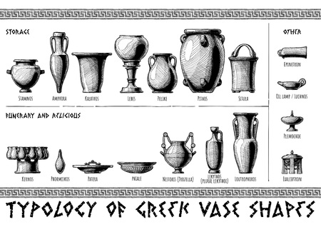 Typology of Greek vase shapes. Storage, funerary, religious and other vessels. Illustration in vintage engraving style.
