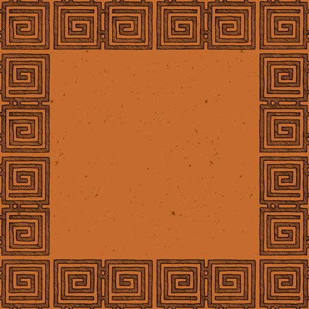 Clay tablet. Vector template with ancient Greek border in black-figure pottery painting style. Place for your text.