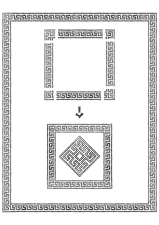 Frame with traditional ancient greek border. Meander. Illustration in vintage engraving style.