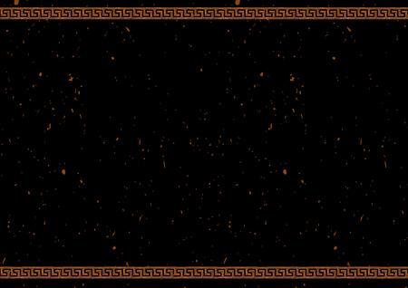 粘土の錠剤。赤い数字の陶器の絵画スタイルで古代ギリシャの境界線を持つベクターテンプレート。テキスト用に配置します。