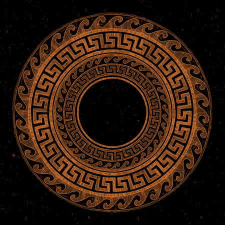 Round Greek ornament with meander and wave in red-figure pottery painting style. Vectores