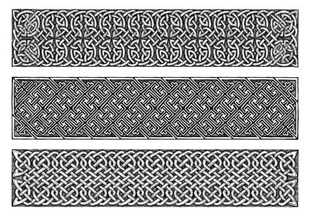 Celtic knots medieval border set in vintage engraving style.