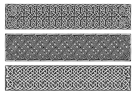 Celtic knots medieval border set in vintage engraving style.