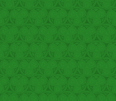 Green Celtic spirals seamless patterns in ink hand drawn style. Vettoriali