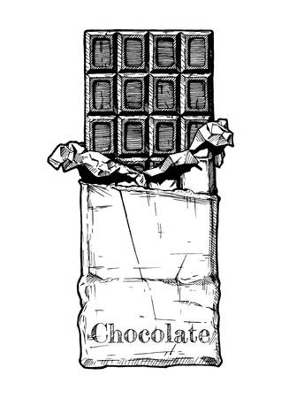 Chocoladereep in folie en inpakpapier. Vectorillustratie in vintage gegraveerde stijl.