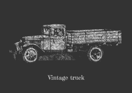 Vector hand drawing of vintage truck on chalkboard.