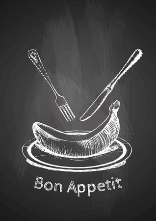Bon Appetit. Vector hand drawn illustration of Military motorcycles on chalkboard. Vintage poster. Illustration