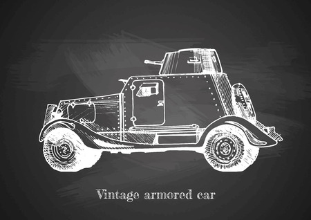 Vector drawing of armored car on chalkboard. Illustration