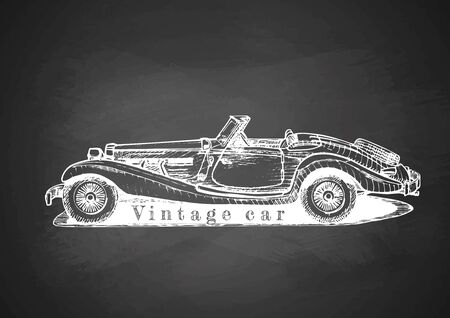 Vector drawing of retro convertible on blackboard Illustration