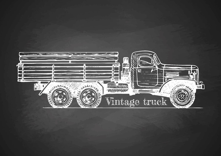 Vector drawing of retro lorry on chalkboard. side view