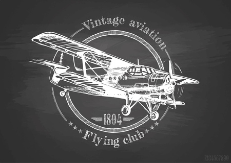 Vector hand drawing of airplane on chalkboard. Vintage poster.