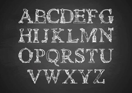 Steampunk letter made of different technical pieces: pipe, block, screw, etc.  Illustration of font on chalkboard.